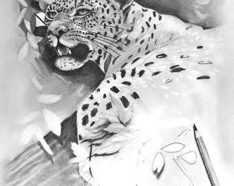 In the Works Leopard Cat Original Drawing Print Reproduction 11x14 Black and White Pencil Graphite Unfinished Affordable Artwork Decor