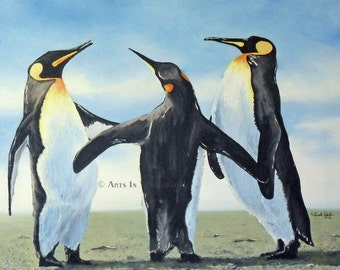 Family Gossip Original Penguin Painting Reproduction Print 11x14 WallArt Winter Wonderland Happy Feet