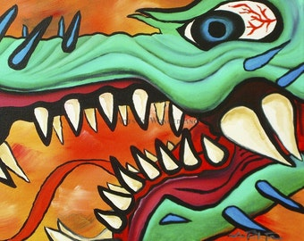 Chinese Asian Inspired Artwork Year of the Dragon Portrait Original Painting Reproduction Print 11x14