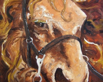 Beautiful Portrait of Brown Horse with Brown Eyes Original Painting Reproduction Print Poster Wall Decor 11x14