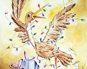 Tied up for the Holidays Christmas whimsical Bird Wrapped in Lights with Presents Watercolor Reproduction 11x14 Print  Wall Decor