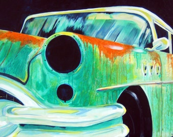 Vintage Rusty Old Car Lights Out Original Car Painting Reproduction 11x14 PRINT Teal Orange Turquoise