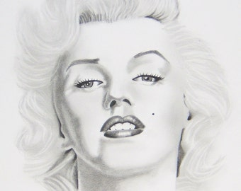 Marylin Monroe Portrait Black and White Realism Graphite Pencil Drawing Reproduction 11x14 Poster Print