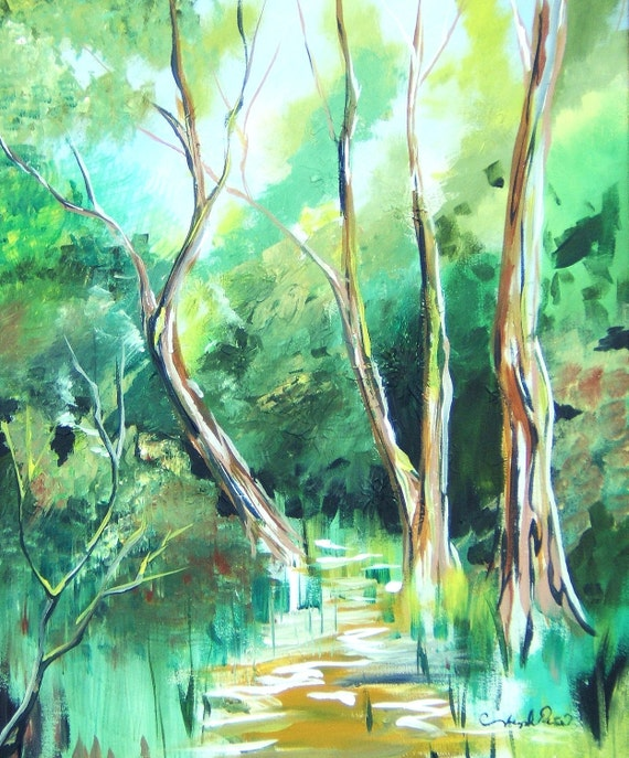 Green Landscape Hidden Path Original Acrylic Painting Reproduction 11x14 Print  Trees Forrest