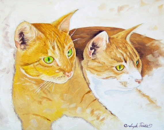 Golden Cats 2 Gold Yellow and White Cats Relaxing It's a Cats life Original Oil Painting Print 11x14 Reproduction