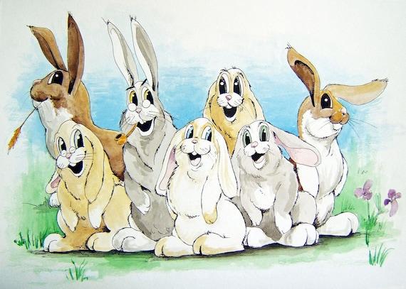 Bunny Family Illustrated Original Watercolor Painting Artwork Children Nursery 11x14 Wall Decor