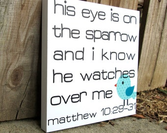 ON SALE! 60% OFF! His Eye is on the Sparrow Mounted Print 8x8
