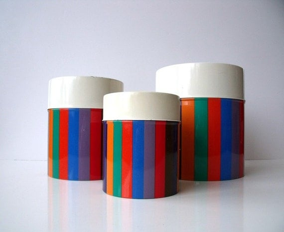 Vintage Multicolored Kitchen Storage Nesting Tins Set - Bold Stripes - San Remo by IMPERIAL - Made in Japan