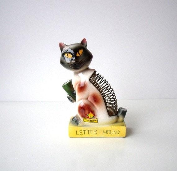 Vintage Cat Ceramic Letter Hound Pen Holder - Made in Japan