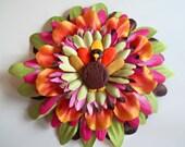 Thanksgiving Turkey Flower hair clip accessory, LIMITED EDITION for girls, baby, women, Autumn, Harvest, Holidays, Polymer Clay Turkey