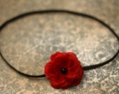 Dainty Red Rose with Pearl on Skinny Black Headband-Pick your size