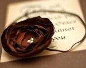 SALE - Brown Satin Hand Singed Flower with Pearl Center on Brown Skinny Headband - Pick your size
