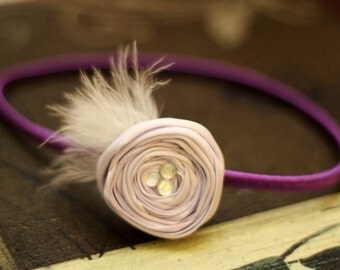 Gorgeous Light purple Satin Rosette with Feather Headband-pick your size