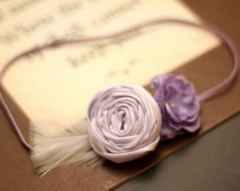 Beautiful Duo Light Purple Rosette on matching skinny headband-Pick your size