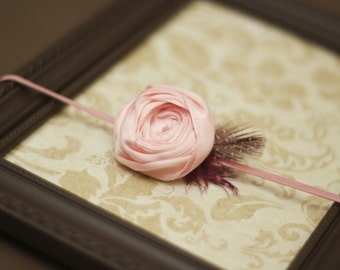 Gorgeous Pink Satin Rosette with Feather Headband on pink skinny headband-Pick your size