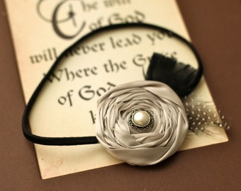 Just Gorgeous Gray Rosette with Feathers and Vintage Style Center on Skinny Black Headband-Pick your size