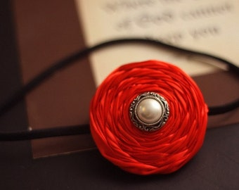 Gorgeous Red Satin Rosette with Vintage Style attached to Black Elastic Headband-Pick your size