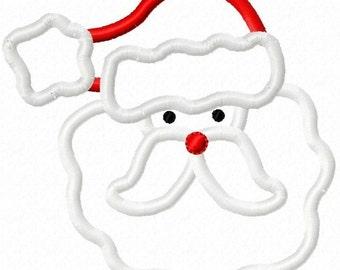 Christmas Santa Applique Machine Embroidery Design 4x4 5x7 6x10 INSTANT DOWNLOAD