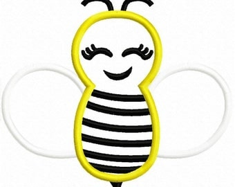Bee Applique 2 Machine Embroidery Design 4x4 5x7 Chic M2MG INSTANT DOWNLOAD