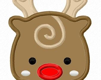 Rudolph Reindeer Applique 2 Machine Embroidery Design 4x4 5x7 INSTANT DOWNLOAD