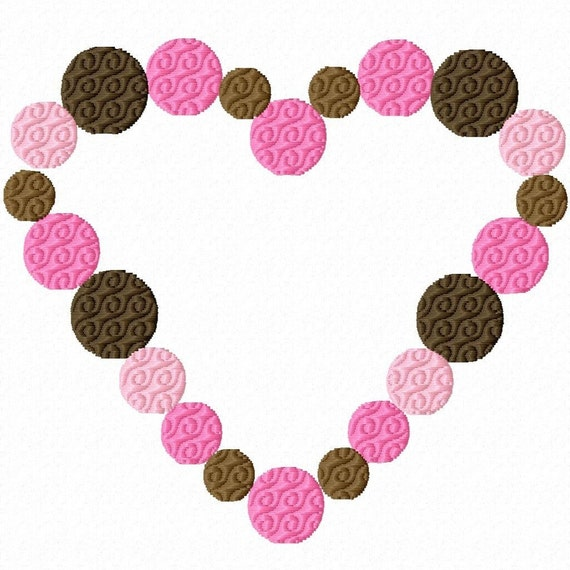 Digitizing Dolls Heart Circles Solid Fill Machine Embroidery Design 2x2 4x4 5x7 INSTANT DOWNLOAD