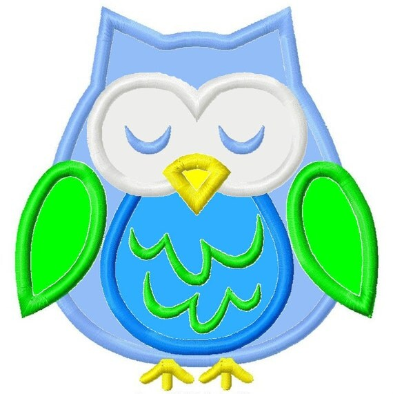 Owl Applique 2 Machine Embroidery Design 4x4 5x7 Fall Euro INSTANT DOWNLOAD