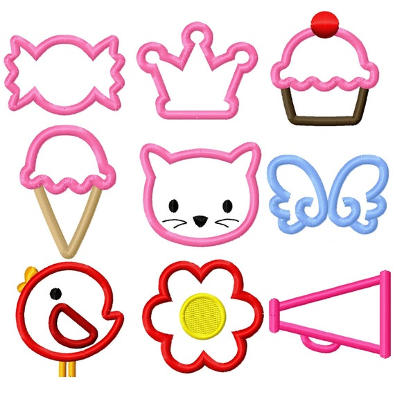 Digitizing Dolls Mini 2x2 Applique Set 1 Embroidery Designs-Candy Crown Cupcake Ice Cream Kitty Wings Bird Flower Megaphone INSTANT DOWNLOAD