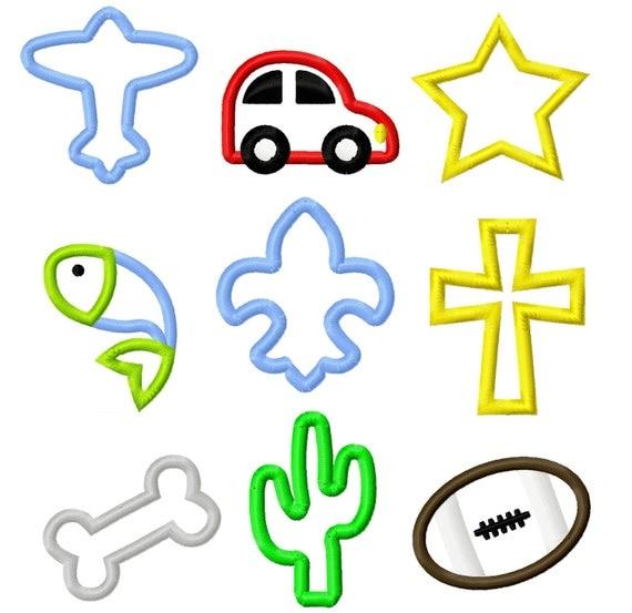 Mini 2x2 Applique Set 2 Embroidery Designs - Airplane Car Star Fish Fleur De Lis Cross Dog Bone Cactus Football INSTANT DOWNLOAD