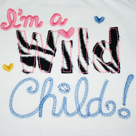 Digitizing Dolls I'm a WILD Child Raggy Applique Machine Embroidery Design 4x4 5x7 INSTANT DOWNLOAD