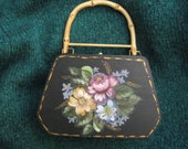 Wooden Purse Hand Painted florals