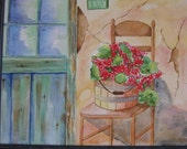 Watercolor Painting of an old door, stucco wall, chair wiht basket of Red Geraniums 11 x 14