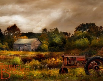 Farm Tractor in October - 8x10 Original Photograph - Autumn Fall Barn Home Decor Rich Colors Farmhouse