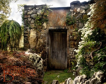 Garden Cottage - Original Photograph - Beautiful Unique Stone Walls Fantasy Landscape Home Decor Wall Art