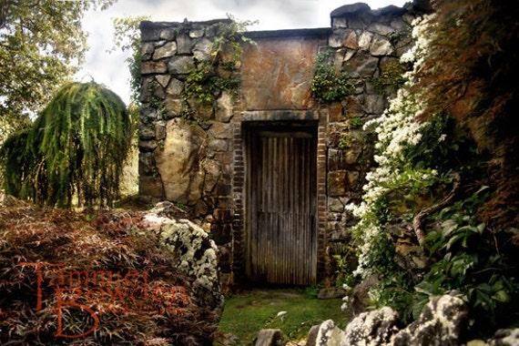Garden Cottage - Original Photograph - Beautiful Unique Stone Walls Fantasy Landscape Home Decor Wall Art