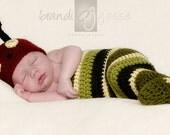 Newborn Baby Boy Hat and Cocoon Photo Prop Set -  Little Caterpillar or Bookworm