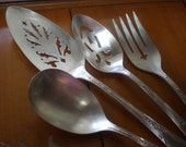 Silver Plate Flatware, Serving Set, 4 Piece, ONEIDA Meadowbrook 1936 Serving Set, Pie, Casserole, Meat Fork, Pierced Tablespoon