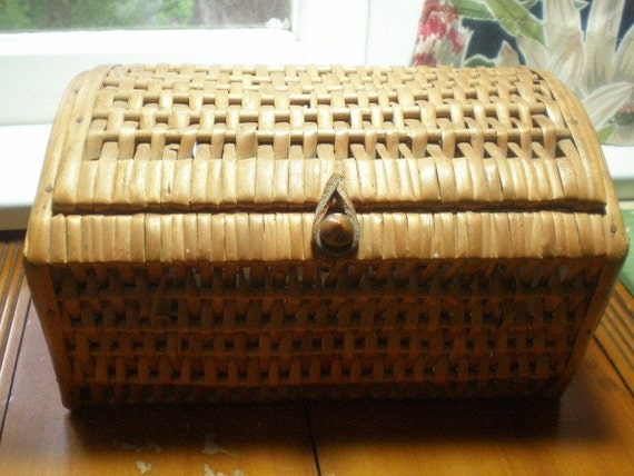Wicker Basket With Hinged Lid : Old wicker basket with hinged lid curved bottom funky and