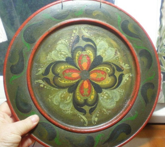 Vintage Bohemian Painted Wooden Plate, Hand Painted Tole Wall Decor, with Plate Hanger