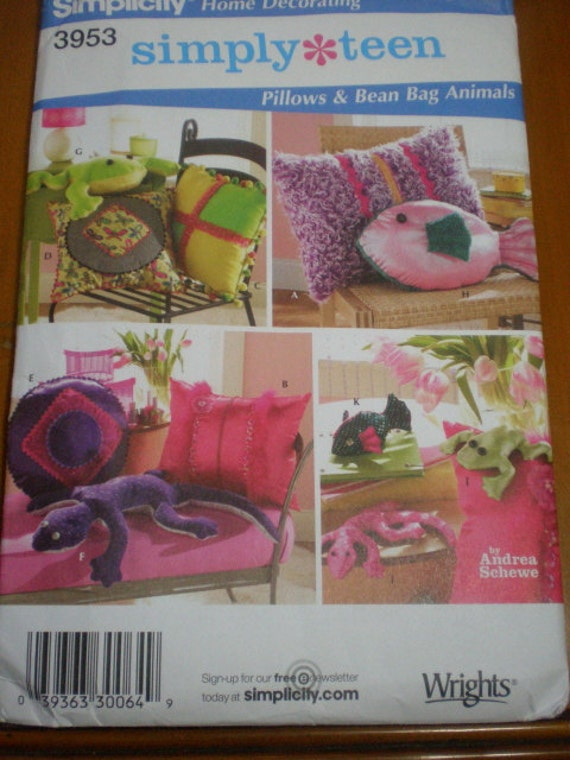 Lizard, Fish, Frog and Three Other Pillows Pattern by Simplicity, Never Used.,Pillows and Bean Bag Animals