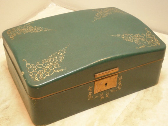 Vintage Jewelry Box, Green Textol by Farrington, Faux Green Leather with Gold Trim, Velvet Lining, Slightly Ratty but Very Cool