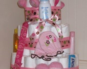 Pink Girl Polka Dot Baby Diaper Cake