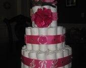 Custom Pink Diaper Cake