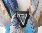 Vintage Bakelite Triangle Rhinestone Clip