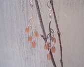 SALE:  Salmon Pink Czech Glass Sterling Twig Earrings