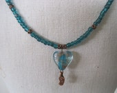 Dimensional Teal Copper Glass Heart Necklace