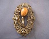 Vintage Art Nouveau Oval Brass Coral Brooch
