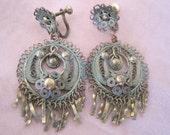 Vintage Art Nouveau Brass Filigree Dangling Earrings