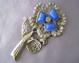 SALE - Vintage Blue Opaque Stone Flower Brooch