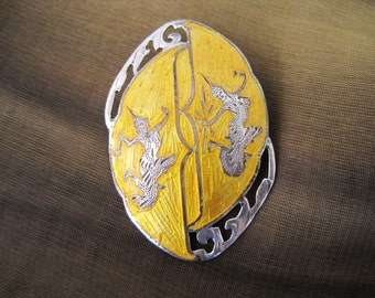 Vintage Sterling Silver and Yellow Enamel Siam Pin