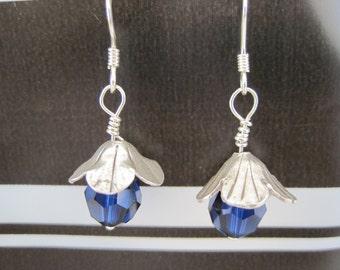 Sterling Indigo Blue Swarovski Crystal Earrings
